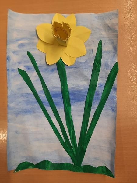 Ein Frühlingsgruss aus der Grundschule Wardenburg, gemalt von John-Luca aus der Klasse 1a